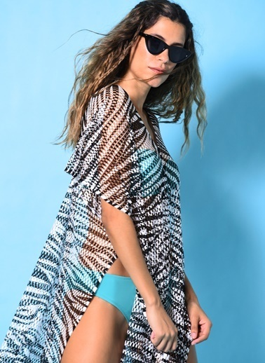 Loves You Fileli Plaj Elbisesi Siyah
